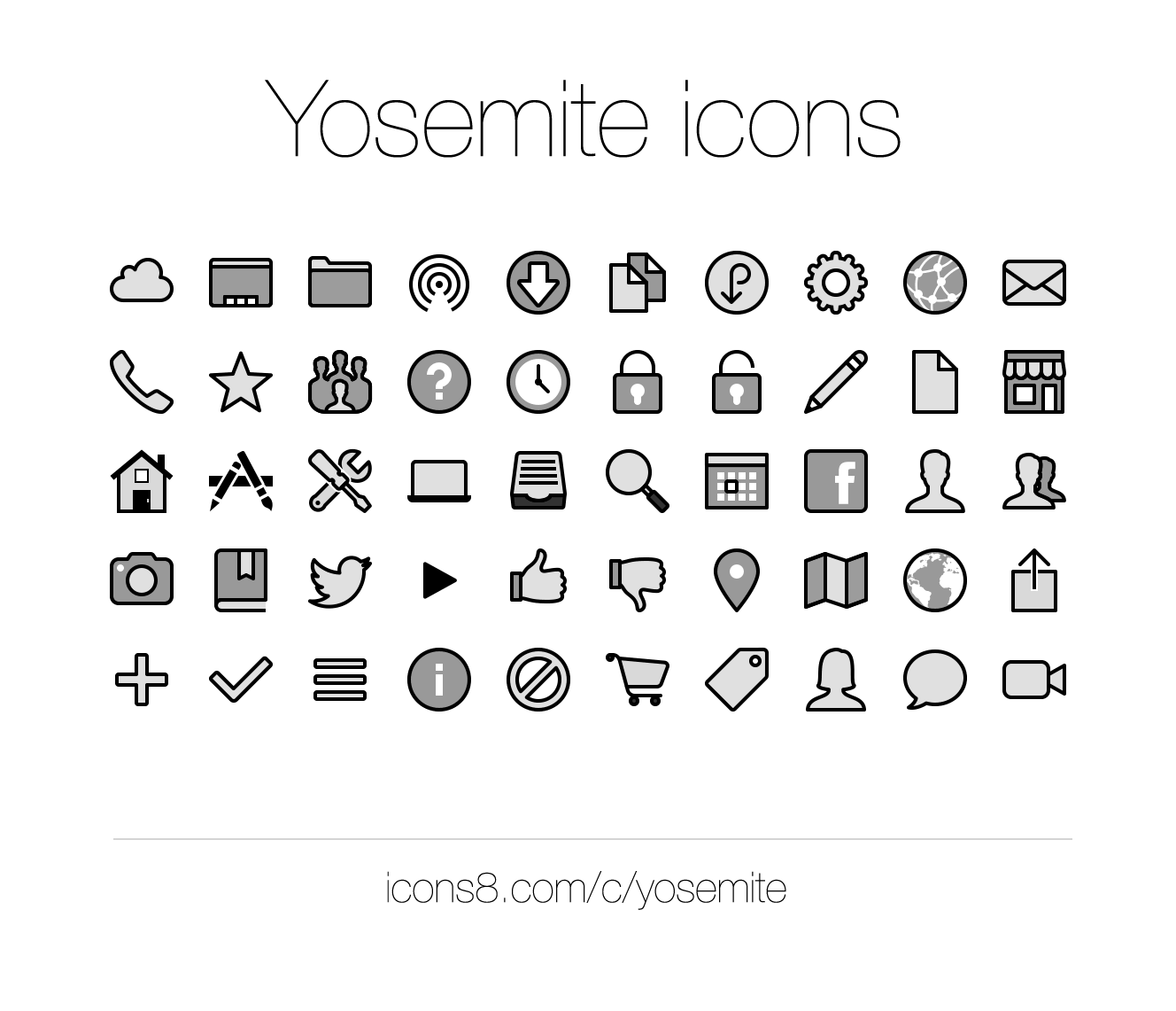 Icons8 MacOS X Yosemite sidebar icons preview